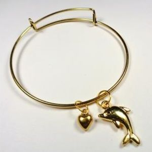 Jewelry - NAUTICAL GOLD TONE DOLPHIN AND HEART BRACELET